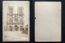 Paris, cathédrale Notre-Dame Vintage albumen print, carte cabinet.  Tirage alb