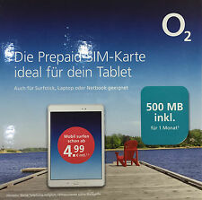 O2 go Prepaid inkl. 500MB surfen Daten Surf SIM Karte Netbook Tablet Notebook