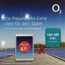 O2 go Prepaid inkl. 500MB surfen Daten Surf SIM Karte Netbook Tablet Notebook