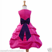 FUCHSIA HOT PINK CHRISTMAS TODDLER WEDDING FLOWER GIRL DRESS 2 4 6 8 10 12 14 16