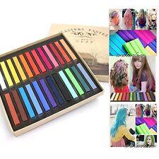 24 Color Fashion DIY Fast Non-toxic Temporary Hair Chalk Dye Soft Pastel Kit New
