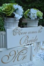 Here Comes The Bride, Mr & Mrs Wedding Sign Set. Handmade Custom Wedding Decor