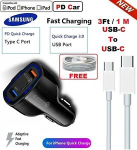 Fast Car Charger For Samsung Galaxy S10 S9 S8 Note10 For iPhone 11 12 Pro Max XS