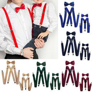 Axy Vater-Sohn Partner Look Braces With Bow Tie Set For Herren-Damen-Kinder