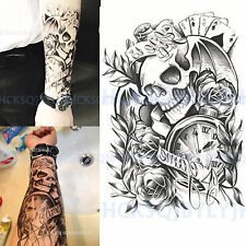 Temporary Tattoo Waterproof Skull Clock Rose Body Arm Leg Art Stickers Removable