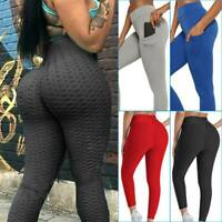 Womens Push Up Leggings Yoga Pants Anti Cellulite Ruched Scrunch Trousers Sports