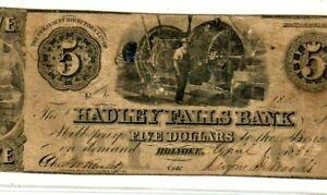 """$5 """"HADLEY FALLS"""" RARE 1800'S """"MASSACHUSETTS"""" $5 """"HADLEY FALLS"""" SUPER RARE NOTE!"""