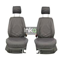 VW Caddy Facelift Front Inka Tailored Waterproof Seat Covers Grey MY10-15