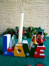 Vintage Wood Love Candle Holder With Bottlebrush Tree & Gift & Toy Soldier Horn&