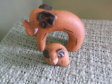 """Whimsical pair of molded ceramic Elephants - 6"""" x 6"""" - hand-painted"""