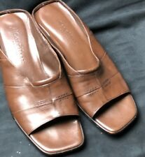 Cole Haan Country Brown Leather Square Heel Slide Sandals Women's Size 6B
