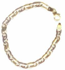 Polished Italian Link 8 inch Bracelet New 14 kt Two Tone Gold Highly