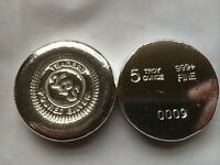 5oz BUTTON Hand Poured Round by Yeagers Poured Silver YPS 999+ Bullion Bar