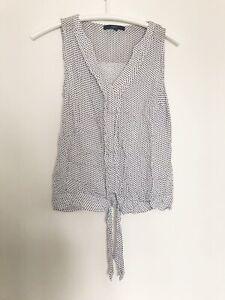 NEXT 10 Womens M 38 Top Vest Tshirt Camisole White Polka Dots Print Tunic V Tie