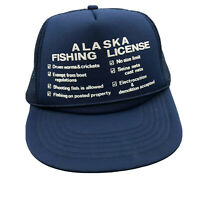 ALASKA FISHING LICENSE Blue Mesh Foam Rope Snapback Trucker Cap Hat Vintage YZ