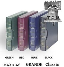 LIGHTHOUSE Coin Currency Stamp Album GRANDE Classic Leather 3 Ring Binder BLUE