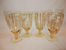 Set of 4 Vintage Tiffin Optic Yellow Topaz Cut Glass Ball Stem Goblets Glasses