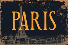 "Paris Sign Chic Rust Vintage 8"" x 12"" Vintage Aluminum Retro Metal Sign VS503"