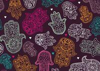 A1 Hamsa Hand Poster Art Print 60 x 90cm 180gsm - Purple Pattern Fun Gift #15412