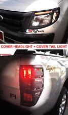 MATTE BLACK FRONT HEADLIGHT REAR TAIL LIGHT LAMP COVER TRIM FORD RANGER T6 12 13