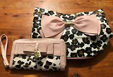 Betsey Johnson Purse Bow Bucket Leopard White Pink Chain Straps And Wristlet