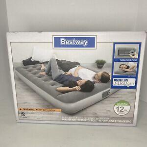 "Bestway Queen Size 12"" Air Bed Mattress Inflatable W/ Built In Pump - Sleep Camp"