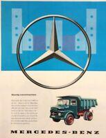 1961 Mercedes Benz Camiones Coche Motor Original Vintage Estampado Anuncio