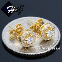 MEN WOMEN 925 STERLING SILVER 7MM LAB DIAMOND ROUND GOLD STUD EARRING*G107