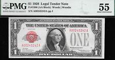 1928 $1 U.S. NOTE  RED SEAL  (( WOODS - WOODIN ))  PMG 55 L@@K NR