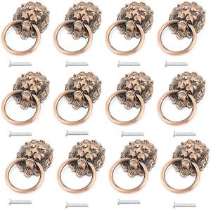 12 Pack Cabinet Knobs Pulls Lion Head Ring Handle For Drawer Dresser Wardrobe