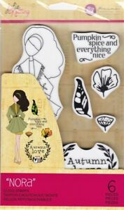 """Julie Nutting """"Nora"""" Doll Cling Stamp Prima Marketing Mixed Media 913205"""