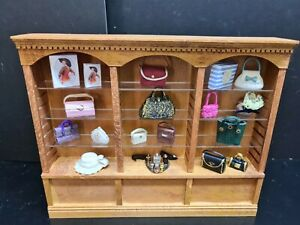 dolls house furniture shop shelves with handbags  1.12th