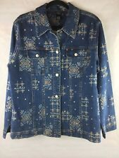 New With Tags Ios Women's Size Large Denim Jacket Lots of Embroidery Details