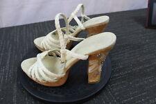 Women's Rampage Ivory Summer Strappy open toe Cork studded Heels Platform  7M