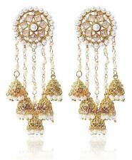 Bollywood Indian Traditional BAHUBALI Jhumka Jumki Dangle Gold Plt Earring