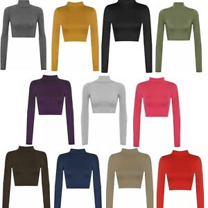 Womens Polo Turtle Neck Short Crop Ladies Long Sleeve Summer TShirt Vest Tee Top