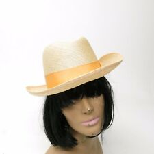Stacy Adams Straw Fedora Hat w/ Ribbon band Size Small Made in USA
