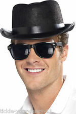 Mens 50's Black Fedora Hat Rock n Roll Blues Bros Retro Fancy Dress Gangster Fun