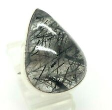 Pear Rutilated Quartz  Sterling Silver 925 Ring 13g Sz.7.75 LEY250
