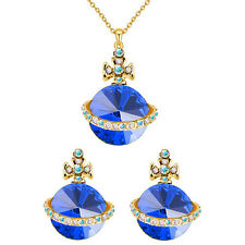 Gold Dark Blue Jewellery Set UFO Orb Cross Stud Earrings and Necklace Set S688