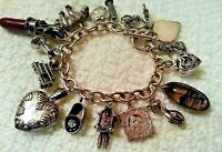 HEAVY Vintage Sterling Silver Chunky Charm Bracelet & Charms,110.8 gr, Movers