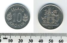 Iceland 1977 - 10 Kronur Copper-Nickel Coin - Arms with supporters