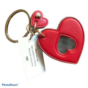 Anya Hindmarch red leather heart keyring with a twist