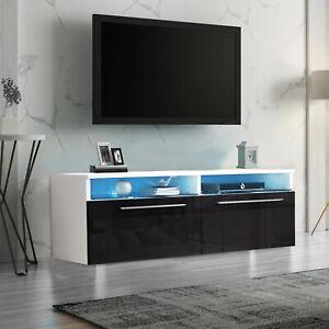 Modern TV Unit Stand Cabinet Black Sideboard High Gloss Doors w/ RGB LED Lights