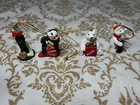 1998 The Coca Cola Co Lot of 4 Collect Christmas Polar Bear Figurines Ornaments