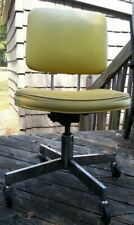 Vtg Industrial Yellow Steel Metal Swivel Adjustable Rolling Office Chair