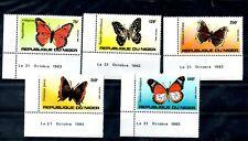NIGER, 1993,BUTTERFLIES, 5 v. MNH,