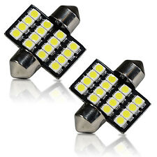 2 x 6000K White 16SMD LED Map/Dome Interior Lights Bulbs 31mm Festoon