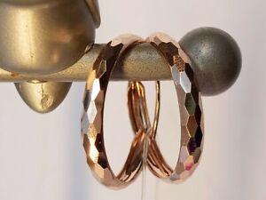 Diamond cut 14 K(585) Solid Rose Gold Hoop Earrings