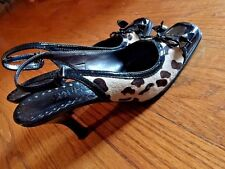 FRANCO SARTO Women LEATHER SUEDE Cheetah Leopard Kitten High Heels SHOES Sz 6 ❤️